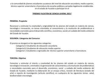 """"""" PREMIO YUCATÁN DE CIENCIA JUVENIL 2021"""""""