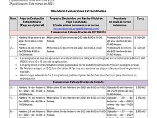 RECORDATORIO: CALENDARIO DE EVALUACIONES EXTRAORDINARIAS.