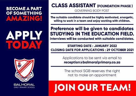Balmoral Class assistant advert.jpg