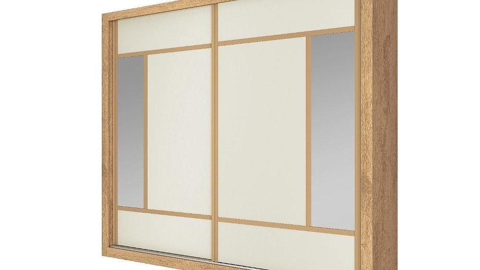 Guarda-Roupa 2 Portas Com Espelho Paris Plus Amendoa/OFF WHITE