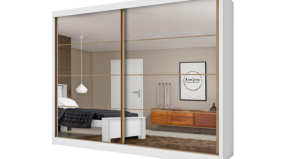 Guarda-roupa Casal Sevilha 2 Portas Com Espelho E 6 Gavetas  Branco Acetinado