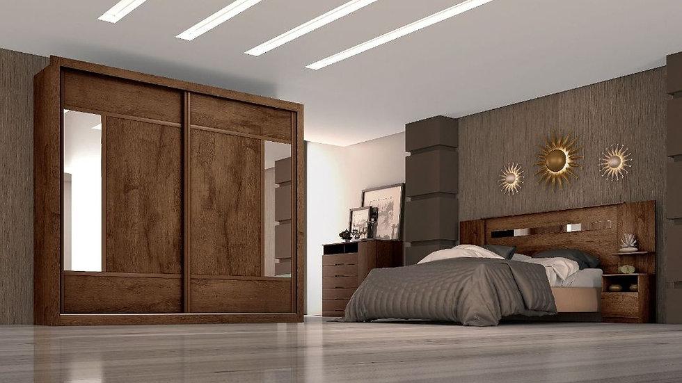 Guarda-Roupa 2 Portas Com Espelho Paris Plus BRAUNA/OFF WHITE
