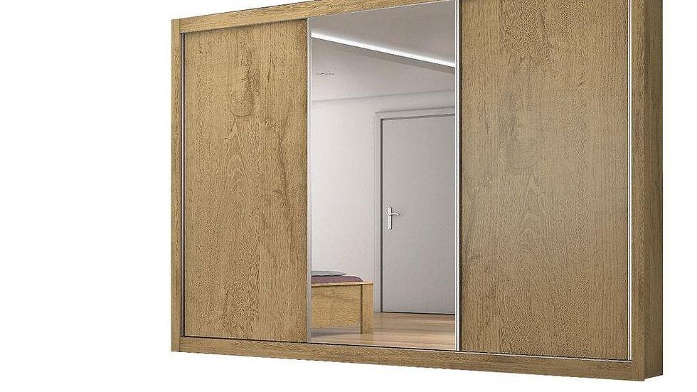 Guarda-Roupa Uaishopp Roiale com 3 Portas  4 Gavetas e Espelho Amêndoa/Off white