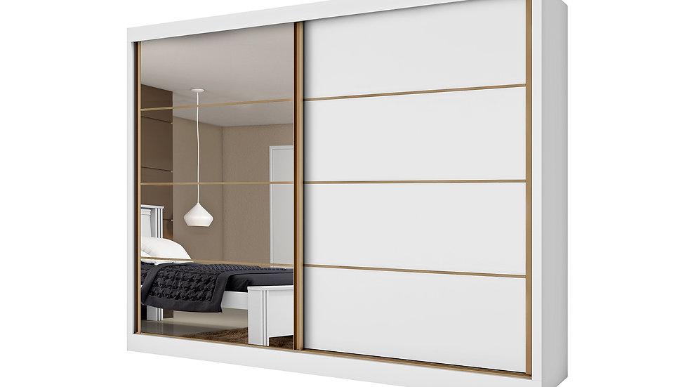 Guarda-Roupa Casal 2 Portas com 1 Espelho 6 Gavetas Sevilha Branco
