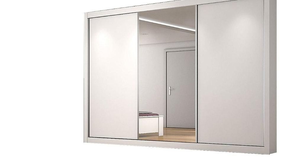 Guarda-Roupa Uaishopp Roiale com 3 Portas de Correr, 4 Gavetas e Espelho Branco