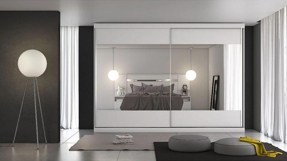 Guarda-roupa Casal 2prt e 4gvt Módena Espelho Branco acetina