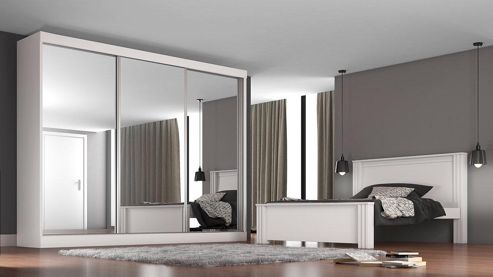 Guarda-roupa Casal 3 portas c/ Espelho 3 gavetas Napoli Branco
