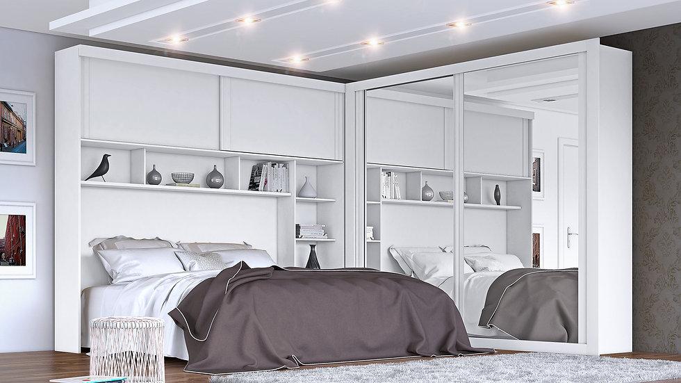 Guarda-roupa Casal 4 Portas de Correr 7 Gavetas Firenze Plus 2 Espelho Branco