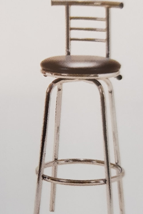 Bar Stool Chrome Narrow Back Pair