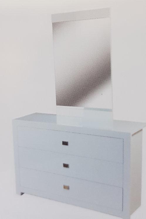 Sokoto White High Gloss 3 Drawer Dresser and Mirror