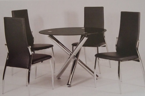 Calder Black Dining Table and 4 Chairs