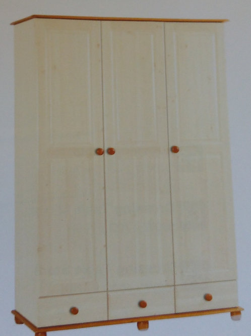 Skagen Cream 3 Door Wardrobe with 3 Drawers