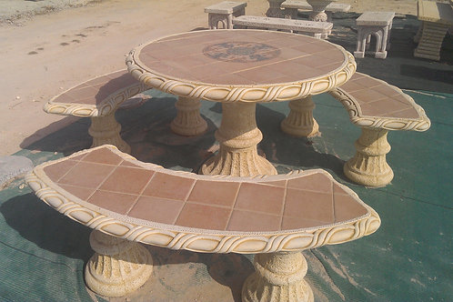 Concrete Tile Top Garden Table and 3 Benches