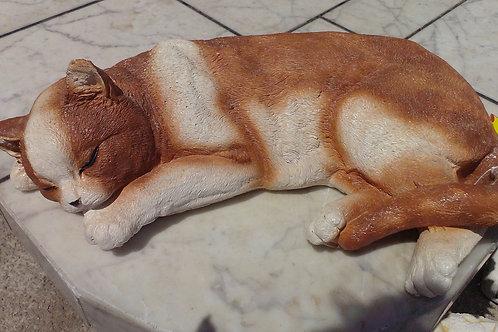 Concrete Sleeping Cat Ornament