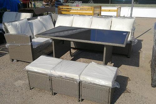 Corner Rattan Set with Table