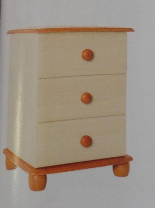 Skagen Cream 3 Drawer Bedside Cabinet