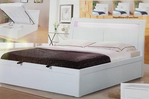 Tanya LED White High Gloss Storage Bed