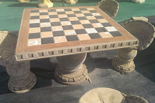 Concrete Chess Garden Table and 4 Seats