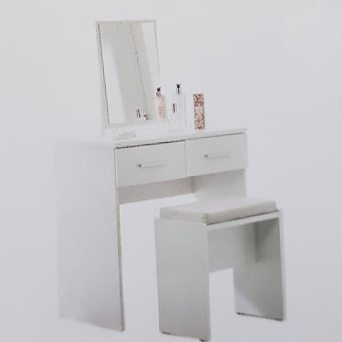 Topline High Gloss Dressing Table, Mirror and Stool
