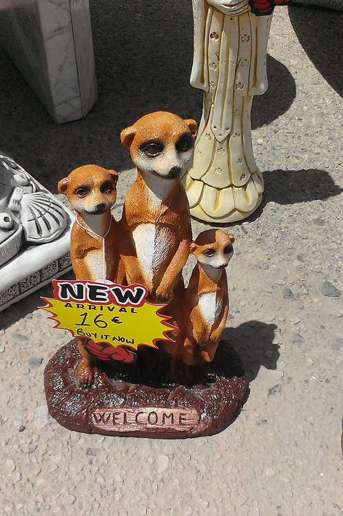 Concrete Welcome Meerkat Garden Ornament