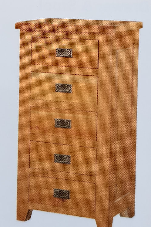 Acorn Solid Oak 5 Drawer Narrow Chest of Drawers