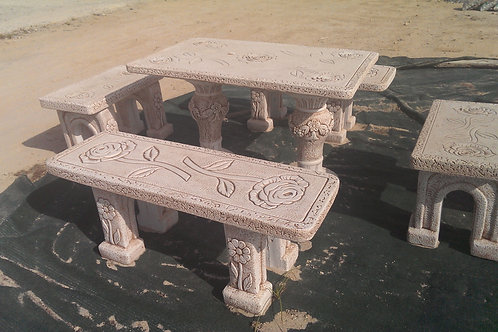 Concrete Rose Design Garden Table and 4 Benches
