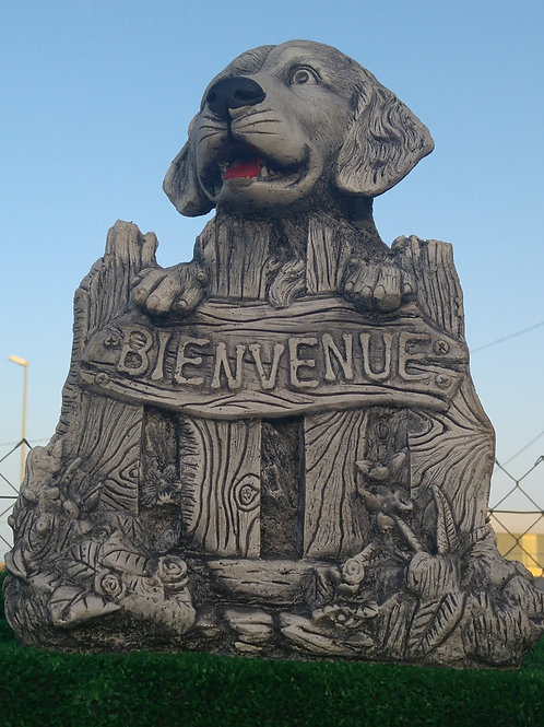 Concrete Dog Welcome Sign