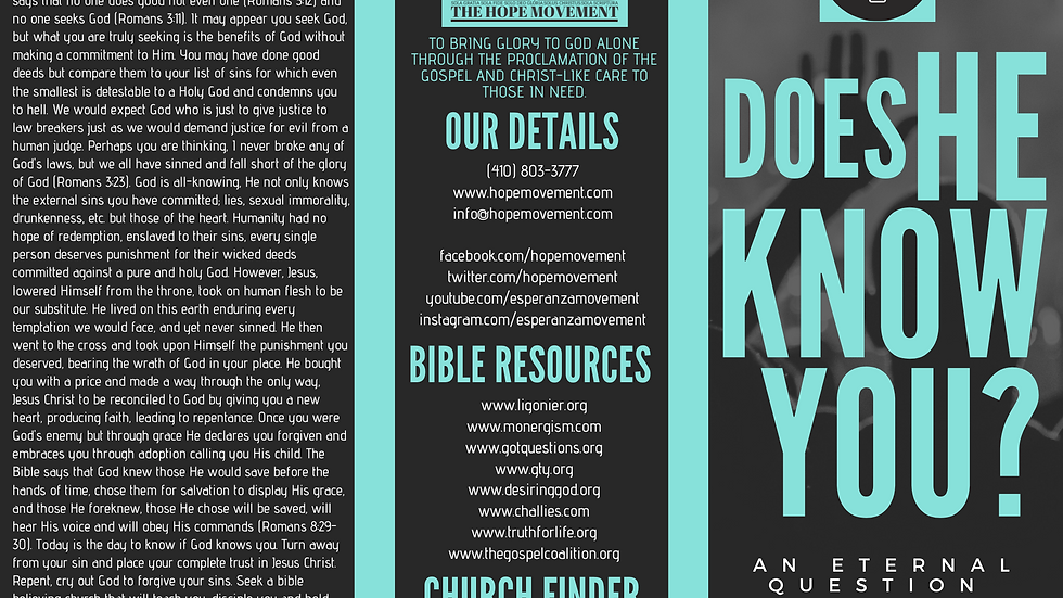 DOWNLOAD: Does He Know You? Tract (English)