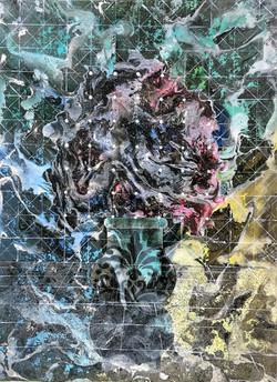 untitled, 2017, 60x80cm, acrylic and spray on canvas, 1.500 euro