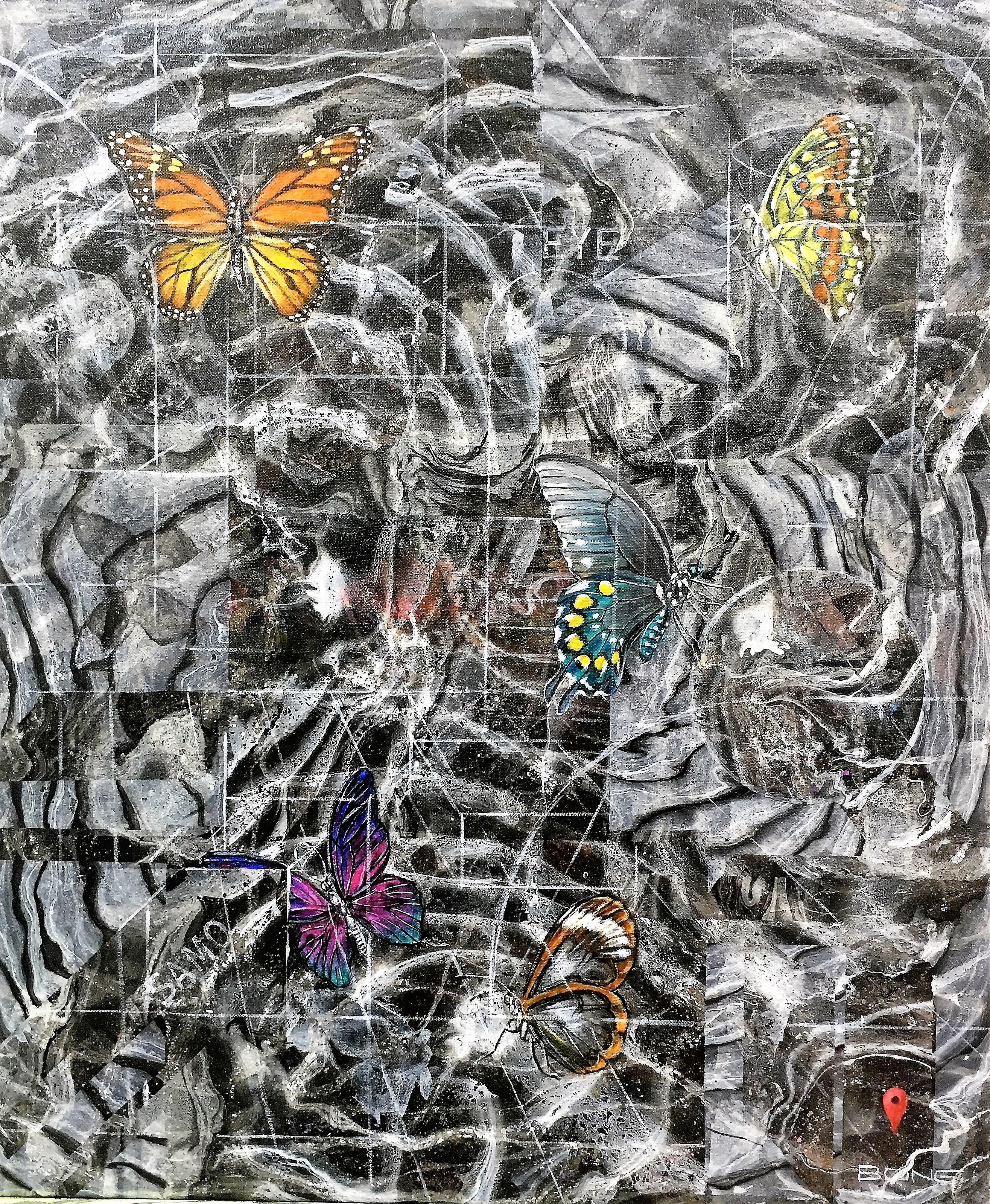 Lepidoterarium, 2017, 60x70cm, acrylic and spray on canvas, 1.400 euro