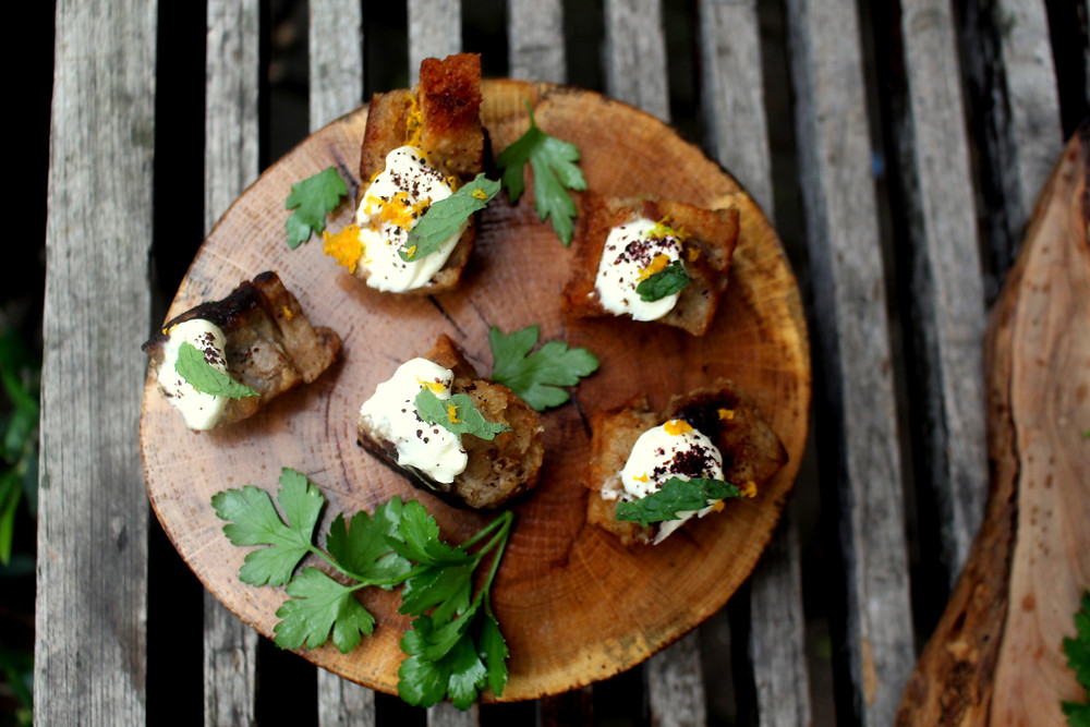 Savoury Canapes with  Spinach and Ricotta Gnocchi, Turmeric Shortbread pastry topped with a Red Pepper Pesto and Pickled Asparagus, Charcoal Crackers topped with Beetroot Hummus and Preserved lemon,  A Crostini with Labhneh and Roasted Aubergines