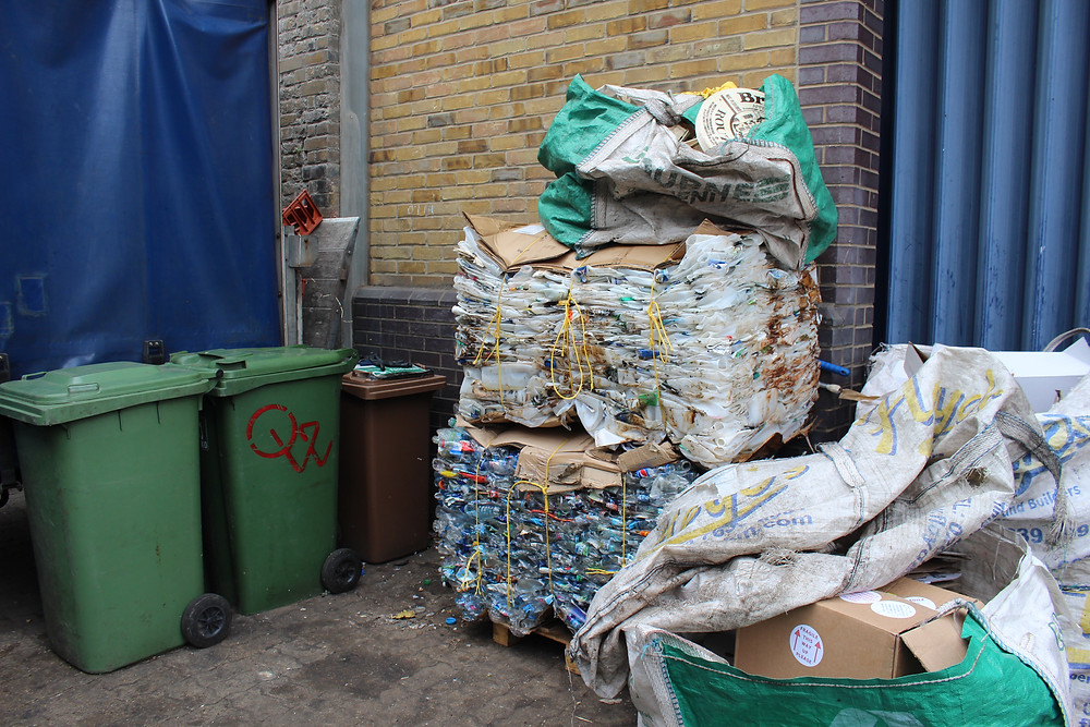 A 'bail' made up of PET and HDPE Bottles ready for collection