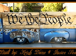 """""""We the People"""" gate, created from  """"halved"""" 1951 Studebaker Pickup. Created by Krish Dane and Justice Sealy."""