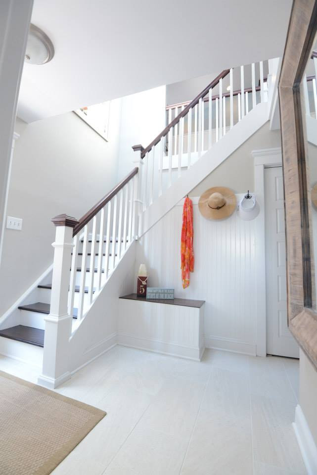 Updated spindles, rails, and post with added bench seat and wainscoting.   Sea Isle City, NJ