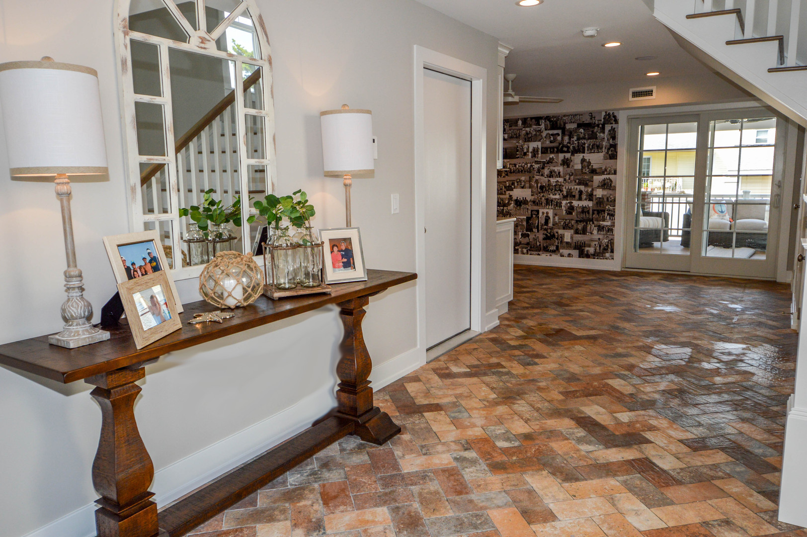 Bring the outside in with a herringbone brick style ceramic tile floor.   North Wildwood, NJ