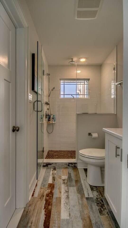 Reclaimed tile floor with classic subway and pennyround shower floor.  Avalon, NJ