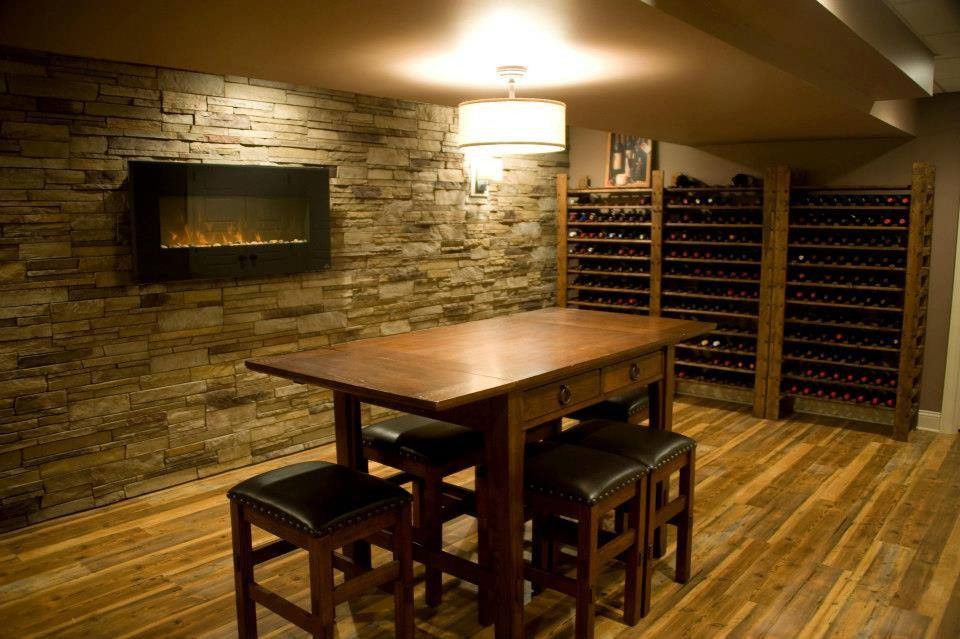 Escape from reality in this custom wine cellar included with gas fireplace and cultured stone wall.  Ambler, PA