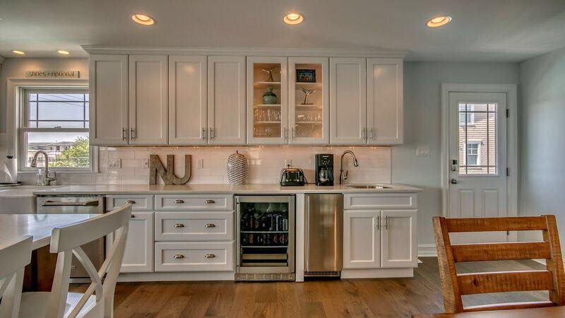 Extension of cabinets on the main run is the perfect spot for a beverage center.  Avalon, NJ