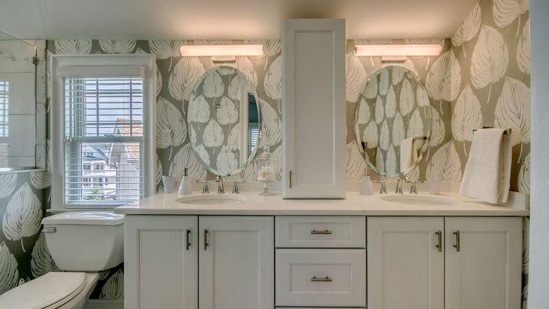 Wallpaper brings this bathroom to a whole new level.  Avalon, NJ