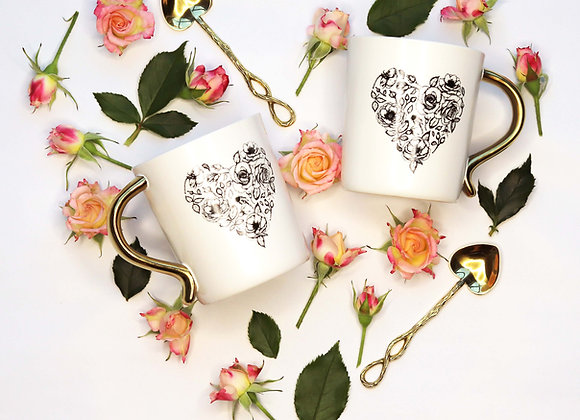 rose heart mug with gold handle