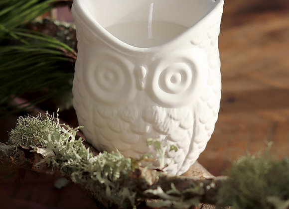owl cement candle