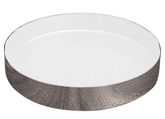hammered metal enamel tray, white