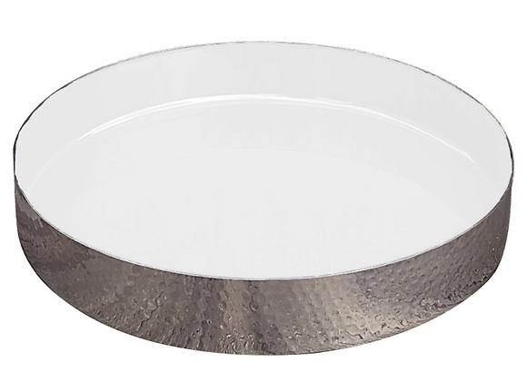 hammered metal enamel tray, white