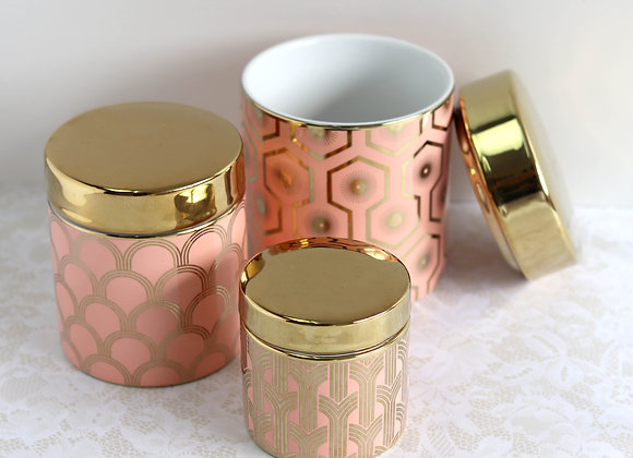 peach & gold vessels bundle, set of 3