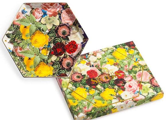 floral hexagonal dish