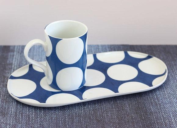 blue with white dot platter