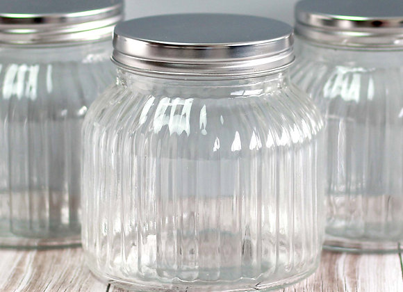 ribbed pantry glass jars, small x 6