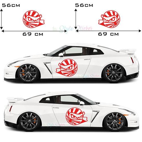 Auto Seitenaufkleber JDM Japan Krieger Gesamtansicht