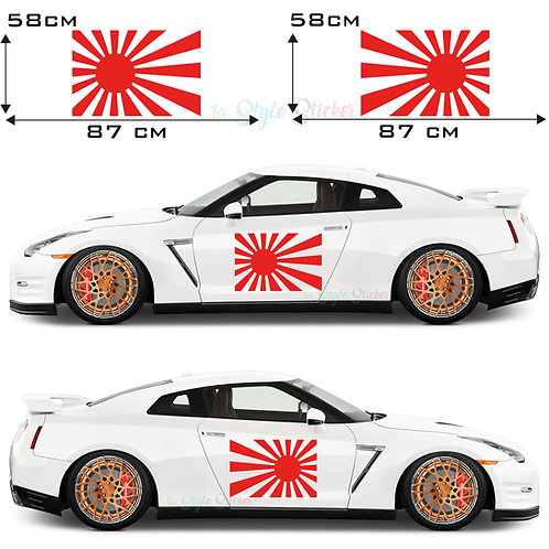 Auto Seitenaufkleber Rising Sun Japan Fahne Set Gesamtansicht