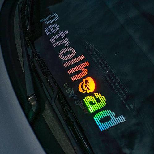 Hologramm Frontscheibenaufkleber Petrolhead Tuningsticker Oilslick Silber